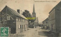 14 Mesnil-Durand, L'Eglise, 2 Hommes Attelant Une Charrette,affranchie 1909 - Other Municipalities