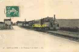 14 Lion Sur Mer, Le Tramway à Son Départ, Affranchie 1909, Beau Plan - Other Municipalities