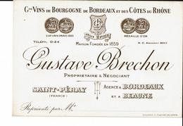 Saint Péray  Gustave Brechon Grands Vins De Bourgogne De Bordeaux Et Des Côtes Du Rhône - Cartes De Visite