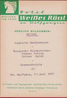 Hotel Weisses Rossl Wolfgangsee Osterreich Wolfgang St  Oostenrijk Austria Oude Menu 1977 Old Spijskaart - Menu