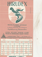 BON BUVARD HIRUDEX, Médication Anti-allergique - Calendrier Mai 1954 - 015 - Unclassified