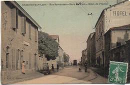 42 CHAZELLES-sur-LYON  Rue Ramousse - Gare Du Tram - Hôtel De France - Sonstige Gemeinden