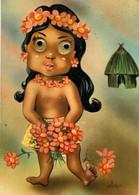 Carte Postale à Système Jeune Vahiné Polynèsie Française Yeux à Bille Illustrateur Piero - Móviles (animadas)