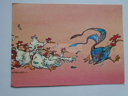 D175460  Humor  Humour -  Hens Chase The Rooster - Les Poules Chassent Le Coq - Humour