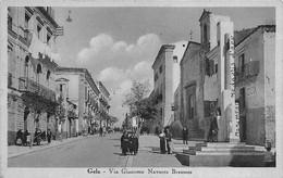 "00039 ""(CL) GELA - VIA GIACOMO NAVARRA BREMES"" ANIMATA, MONUMENTO MEDAGLIA D'ORO, DUX. CART ORIG SPED 1941 - Caltanissetta"