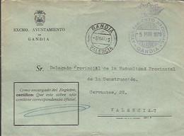 CARTA 1970 GANDIA - Franquicia Postal