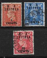 BOIC - ERITREA 1951 VALUES TO 25c On 2½d SG E26, E27, E29 FINE USED Cat £7+ - Unclassified