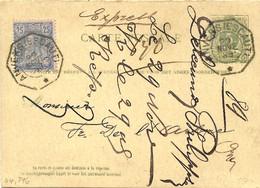 REF2216/ Entier CPRP 14 Avec Repiquage + TP 48 En Exprès C.Télégraphique Anvers(Escaut) 29/11/1889 > E/V - Postales [1871-09]