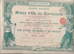 MINES D'OR DU KATCHKAR (ARMENIE RUSSIE ) TITRE DE CINQ ACTIONS ORDINAIRES -ANNEE 1897 - Mineral