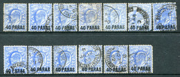 British Levant 1902-05 GB Overprints - KEVII - 40 Paras On 2½d Ultramarine - 13 Examples Used (SG 8) - Britisch-Levant