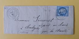 CERES DENTELE 60 SUR LETTRE DE POUGUES LES EAUX A CHAULGNES DU 28 MAI 1876 (CACHET A DATE SUR LE TIMBRE) - 1849-1876: Classic Period