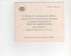 CPA INVITATION A L INAUGURATION DU PONT PATCH 30 MAI 1957 EPINAL - Altri Comuni