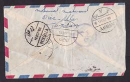 Jordan: Airmail Cover, 1960, 1 Stamp, Refugee Year, Cancel Nablus, Deir Alla, Shuna, Censored?, Censor Cancel? (damaged) - Jordanie