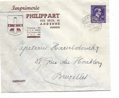 """SH 0696. N° 724O Càd ANDENNE 1.6.46 S/Lettre Publicitaire """"Philippart - ANDENNE"""" Vers Bruxelles - 1946 -10%"""