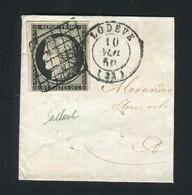Rare Fragment De Lettre De Lodève Pour Montpellier ( Hérault 10 Novembre 1850 ) Avec Un N° 3 - 1849-1850 Ceres