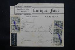 ESPAGNE - Griffe Linéaire De  Beniarjo Sur Affranchissement Sur Enveloppe Commerciale Pour La France En 1941 - L 75462 - Marques De Censures Nationalistes