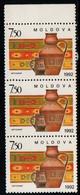 Moldova 1992, Scott 65, MNH Strip, Traditional Folk - Moldawien (Moldau)