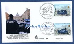 FDC ISPETTORATO PUBBLICA SICUREZZA JOINT VATICANO ITALIA 2020 INSPECTORATE PUBLIC SECURITY VATICAN ITALY First Day Cover - FDC