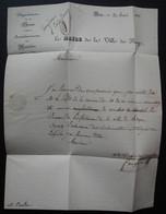 Roye, Somme 1831, Lettre Du Maire De Roye Pour Mr Coulomb Pharmacien, Nomination Au Bureau De Bienfaisance De La Ville - 1801-1848: Precursori XIX