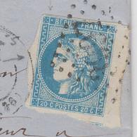 LETTRE. BORDEAUX 20c.  22 FEVR 1870. VIGNAT-BODREAU TOURS INDRE ET LOIRE. GC 3997. POUR LA BRINMIDE PRES ANGERS - 1870 Ausgabe Bordeaux