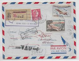 1955 - POSTE AERIENNE - ENVELOPPE RECO 25° ANNIVERSAIRE TRAVERSEE MERMOZ => RIO (BRESIL) CACHET POSTE RESTANTE AU DOS - 1927-1959 Lettres & Documents