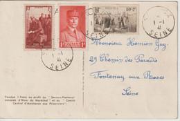 France Pétain 472 1er Jour 1/01/1941 Sceaux (92) Sur CPA Pétain Voyagée - ....-1949