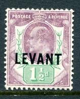 British Levant 1905-12 British Currency - KEVII - 1½d Dull Purple & Green - Chalk Paper HM (SG L3a) - Levant Britannique