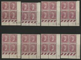 N° 293 (x32) COTE 368 € 8 Blocs De 4 Avec Coins Datés Différents Neufs **/* (MNH/MH). Voir Description - ....-1929