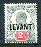 British Levant 1905-12 British Currency - KEVII - 2d Pale Grey-green & Carmine-red HM (SG L4a) - Levant Britannique
