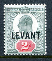 British Levant 1905-12 British Currency - KEVII - 2d Pale Grey-green & Carmine-red HM (SG L4a) - Levante Britannico
