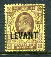 British Levant 1905-12 British Currency - KEVII - 3d Dull Purple On Yellow HM (SG L6) - Levant Britannique