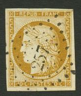 10c CERES (n°1) Obl. PC 257. Signé BRUN + SCHELLER. Superbe. - 1849-1850 Ceres