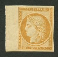 10c CERES REIMPRESSION (n°1f) Bord De Feuille Neuf **. Cote 650€+++. Superbe. - 1849-1850 Ceres