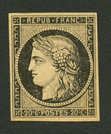 20c Noir Sur Jaune (n°3) Neuf *. Cote 625€. TB. - 1849-1850 Ceres