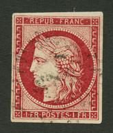 1F CARMIN FONCE (n°6B) Obl. Cote 1100€. Léger Aminci Sinon TTB. - 1849-1850 Ceres