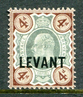 British Levant 1905-12 British Currency - KEVII - 4d Green & Grey-brown HM (SG L7) - Levant Britannique