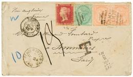 PORTO-RICO : 1876 GB 1d (pl. 190) + Pair 4d Vermillon (pl. 15) + 1 SHILLING (pl. 12) Canc. F88 + PONCE PORTO-RICO PAID + - Porto Rico