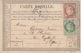 CARTE PRECURSEUR. N° 54 ET 53. COTE D'OR. BEAUNE  POUR DIJON - 1849-1876: Periodo Classico