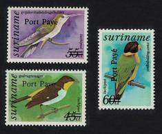 Suriname Birds Optd 'Port Paye' 3v MNH SG#1585-1587 - Suriname