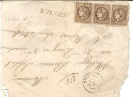 LETTRE MAUVAIS ETAT AVEC BANDE DE 3 TIMBRES 30 CTS BRUN REPUBLIQUE FRANCAISE + CHARGE - 1849-1876: Classic Period