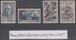France (1942-44) Y/T N° 551 + 583/584 + 618 Neufs * - Unused Stamps