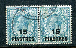 British Levant 1921 KGV Turkish Currency - 15pi On 10d Turquoise-blue Pair Used (SG 46) - Britisch-Levant