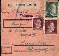 ! 1943 Seehausen, Altmark Nach Leipzig, Paketkarte, Deutsches Reich, 3. Reich - Covers & Documents