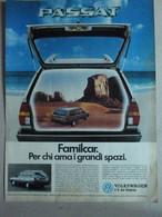 # ADVERTISING PUBBLICITA'  VOLKSWAGEN PASSAT  FAMILCAR - 1986  -  OTTIMO - Werbung