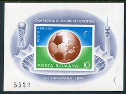 ROMANIA 1974 Football World Cup Imperforate Block MNH / **...  Michel  Block 115 - Ungebraucht