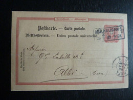 D1 - Allemagne - Entier Postal - 10 Pf - 1889 De Schlumberger Fils & Cie Mulhausen ( Mulhouse) Vers Albi - France - Enteros Postales