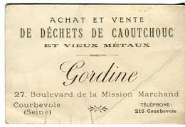 Collection Carte De Visite Gordine Achat Vente Dechets Caoutchouc Vieux Metaux Bld Mission Marchand 92 Courbevoie - Pubblicitari