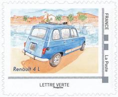 FRANCE RENAULT 4L Neuf**. Voitures Et Vacances. Clocher, Mer Bateaux.. - Coches