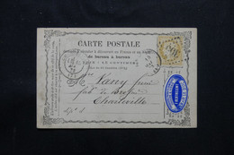 FRANCE - Carte Précurseur De Bar Le Duc En 1873 Pour Charleville Avec étiquette Commerciale, Affr. Cérès 15ct - L 75542 - Precursor Cards