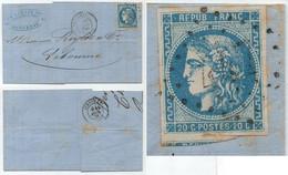 EMISSION DE BORDEAUX / 1871 BERGERAC PLI POUR LIBOURNE / TYPE A DETERMINER - PETIT PRIX (ref 6112) - 1870 Bordeaux Printing